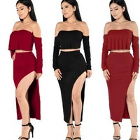 2017 New women clothes sets Maxi Bodycon Club Skirt Set And Crop Top Two-piece dress S-XL