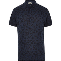River Island MensNavy washed leaf print polo shirt