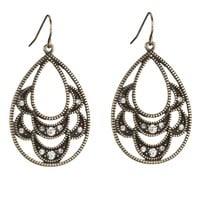 Teardrop Scallop Earrings With Rhinestones - Gold/Black