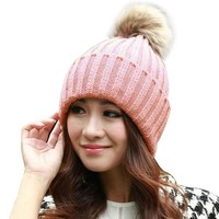 DCCKJG2 Fashion Women Faux Raccoon Fur Ball Winter Hat Cap For Woman Cap Warm Fur Pom Poms Bobble Ski Hat Pompoms Skullies Beanies W0