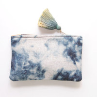 WIND / Natural leather & Dyed cotton two color side pouch - Ready to Ship