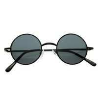 Small Retro-Vintage Style Lennon Inspired Round Metal Circle Sunglasses, Black