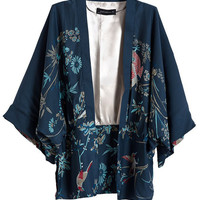 Nature's Own Birds & Flowers Kimono