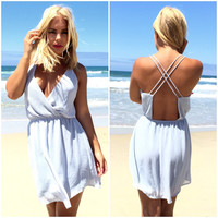 Jetsetter Cross Back Dress In Blue