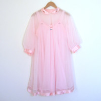 60s Pink Chiffon Peignoir Set Robe & Nightgown Floaty Sheer Pin Up Retro Glam // M