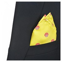 Sea Shell Pocket Square - Red on Yellow