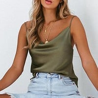 Club Satin Women Solid Camis Top Spaghetti Strap Camis Shirts Backless Solid Sexy Casual Basic Tops