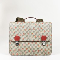 Gucci Beige Red Multicolor Canvas Leather 'GG Supreme' Printed Backpack