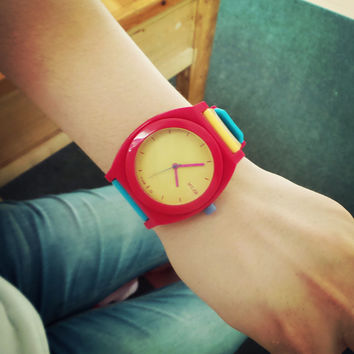 2016 Cute Jelly Candy Colorful Soft Rubber Band Quartz Watch Wristwatches for Women Girls Students Children