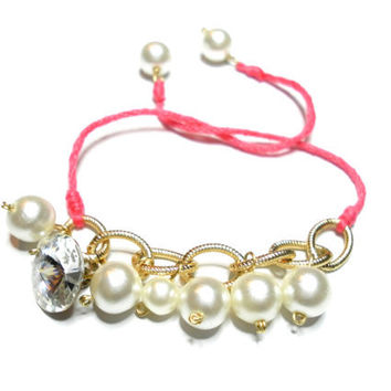 Coral Faux pearls Friendship Bracelets - rhinestone crystal button faux pearls coral string delicate gold plated chuncky chain valentines