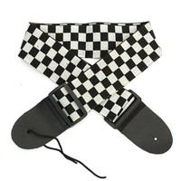 Black White Checkered Nylon belt +PU Leather Ends adjustable Guitar Strap guitar belt for Electric Acoustic bass Guitar