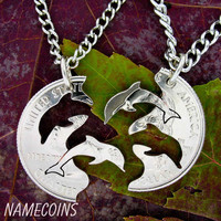 Dolphin Interlocking Halves Relationship Quarter, hand cut coin