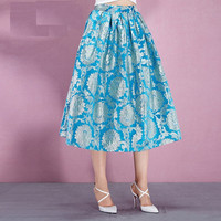 Floral Embroidered Pleated Midi Skirt