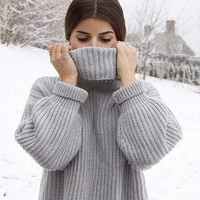 Winter Warm Knit Turtleneck Long Sweater