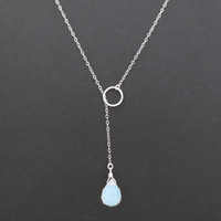 Moonstone karma necklace, simple lariat necklace, circle, modern, mother's day jewelry, gift for her, christmas present