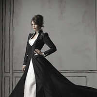 Ivory Dress with Black Chapel Coat - Steampunk and Goth Wedding Embedded with Bluetooth Technology and LED Light Notification System