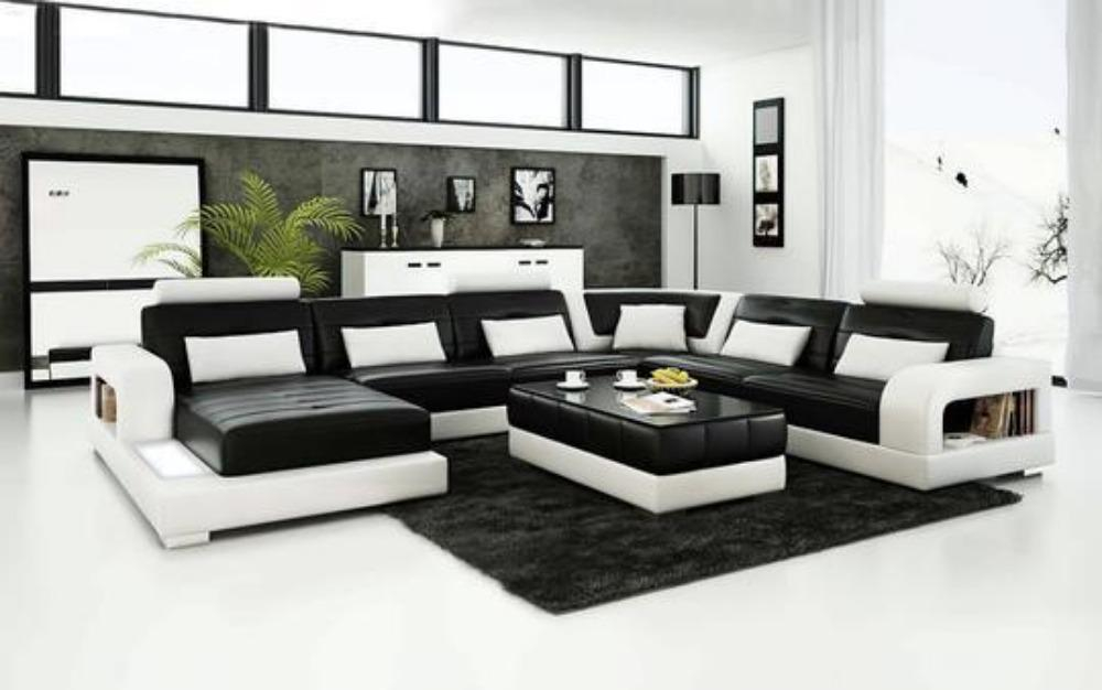 Image of Urban Modern City Style Luxurious Leather Sectional Sofa Set