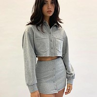 Autumn And Winter New Fashion Solid Color Slim Long Sleeve Top Sweater And Skirt Two Piece Suit Women Gray