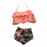 2017 Bikini Set Double Ruffle Swimwear Women Sexy Swimsuit Off Shoulder High Waist Swim Wear Beach Bathing Suits