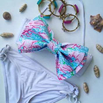 Lilly Pulitzer Fabric Bikini Bow in Lobstah Roll / Made for Bandeau Style Tops / Detachable Bow /  (Bikini Top Not Included - Bow Only)