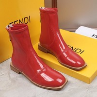FENDI womens 2020 new office Logo-embossed leather Fashion Sports Elastic Stocking Ankle Short Boots shoes white