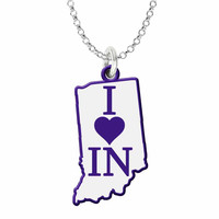 I Love Indiana Silver State Necklace with Color Accent