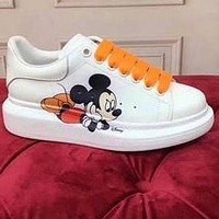 Alexander McQueen Small White Shoes Sports Shoes Mickey Mouse Style Orange Laceup Shoes