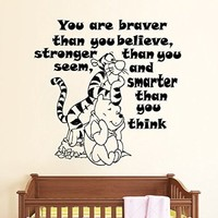 Wall Decals Quote You Are Braver Than You Believe Decal Winnie The Pooh Tigger Vinyl Sticker Family Bedroom Nursery Baby Room Home Decor Ms325