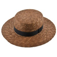 Wide Brim Straw Hat - Black