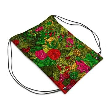 Hand Drawn Floral Seamless Pattern Drawstring Sports Bag by The Photo Access
