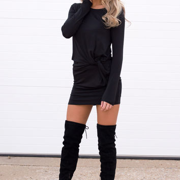 Kele Long Sleeve Black Knot Dress