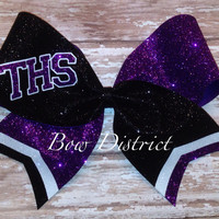 """3"""" Glitter Team Cheer Bow with Tail Stripes and School Initials"""