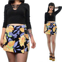 vintage 90s high waisted skirt floral print shorts skirt new wave small