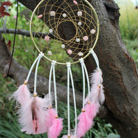 Pink Opal and Rose Quartz Dream Catcher,  6 inch Steel Ring, Leather, Sinew, and Pink Rooster Feathers
