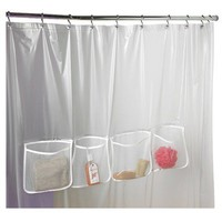 Zenith Products Three Pocket Shower Liner in Frosty Clear