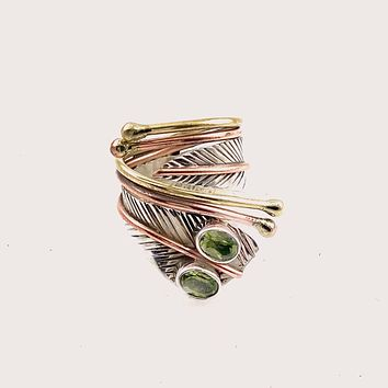 Peridot Two Stone Sterling Silver Adjustable Leaf Wrap Ring