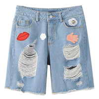 Blue Patch Heavy Ripped Straight Denim Shorts