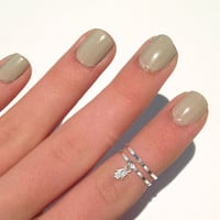 2 Above the Knuckle Rings  silver midi rings with a by galisfly