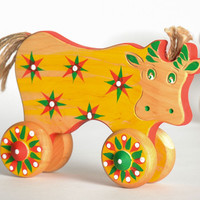 Wooden rocking toy cow
