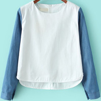 White Contrast Blue Denim Long Sleeve Cropped Blouse