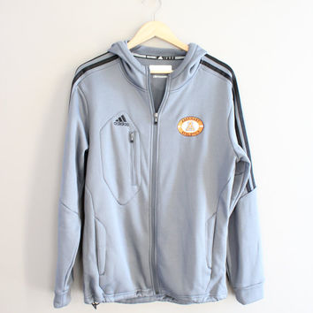 US Free Shipping Adidas Zip Up Hoodie Gray Fleece Jacket Activewear Vintage Minimalist 90s Size S - M #T109A