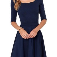 haoduoyi Women's Scallops Boat Neck Slim Draped Dress Small Dark Blue
