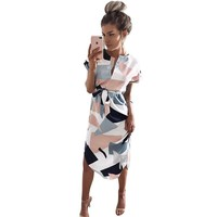 Women Dress Causal Midi Pencil Dress Summer Geometric Multi-Color Mid-Calf Length Stand Collar Dresses WS221R