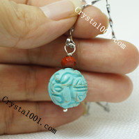 Hand engraved Turquoise totem necklace