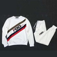 Fendi high quality new fashion embroidery letter print couple long sleeve top and pants two piece suit White