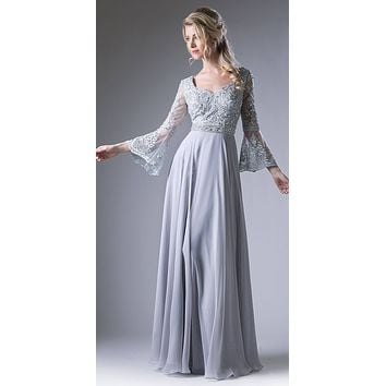 Embroidered Long Formal Dress with Trumpet Long Sleeves Silver