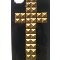 EVERMARKET Punk Style Mobile Phone Protective Skin for iPhone 5 Skin with Studs and Spikes Black Bronze