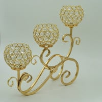 Free Shipping /European-style retro metal candlestick wedding props three elbow / gold plating Decoration