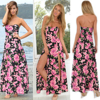 Strapless Floral Print Slit Maxi Dress 10304