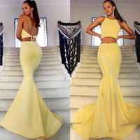 Backless Mermaid 2017 Arabic Prom Dresses Halter Two Pieces Satin Formal Evening Dresses Sexy Yellow Prom Gowns Robe De Soiree